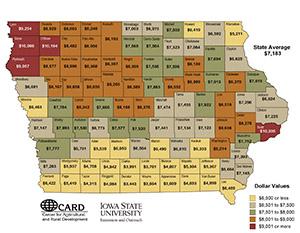 Iowa land values map
