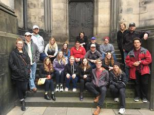 Study abroad group at St. Giles Cathedral, Edinburgh