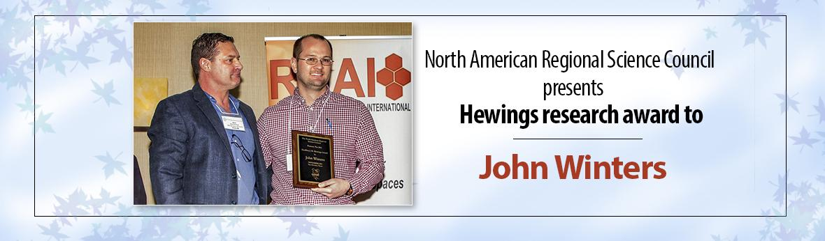 John Winters wins Hewings award